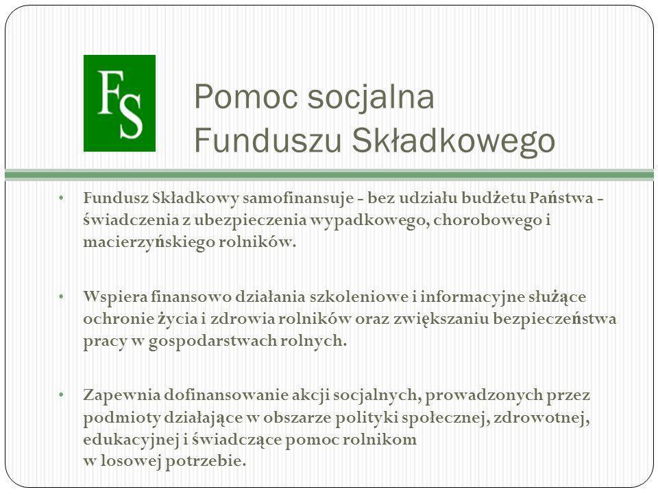 Pomoc socjalna Funduszu Składkowego Fundusz Składkowy samofinansuje - bez udziału bud ż etu Pa ń stwa - ś wiadczenia z ubezpieczenia wypadkowego, chorobowego i macierzy ń skiego rolników.