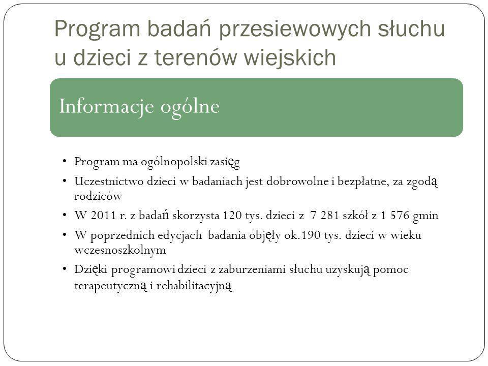 Program badań przesiewowych słuchu u dzieci z terenów wiejskich Informacje ogólne Program ma ogólnopolski zasi ę g Uczestnictwo dzieci w badaniach jest dobrowolne i bezpłatne, za zgod ą rodziców W 2011 r.
