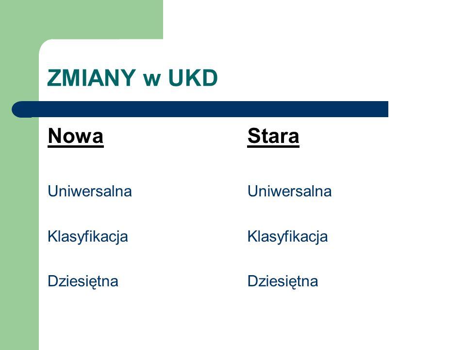 ZMIANY w UKD Nowa Uniwersalna Klasyfikacja Dziesiętna Stara Uniwersalna Klasyfikacja Dziesiętna