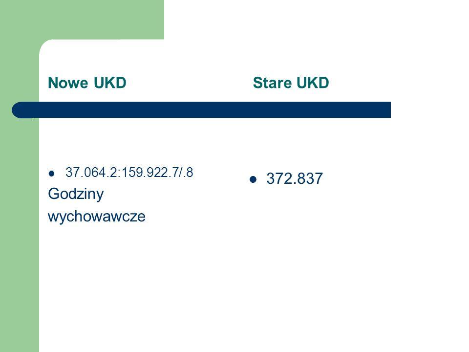 Nowe UKD Stare UKD 37.064.2:159.922.7/.8 Godziny wychowawcze 372.837