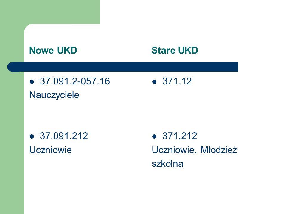 Nowe UKD Stare UKD 37.091.2-057.16 Nauczyciele 37.091.212 Uczniowie 371.12 371.212 Uczniowie. Młodzież szkolna