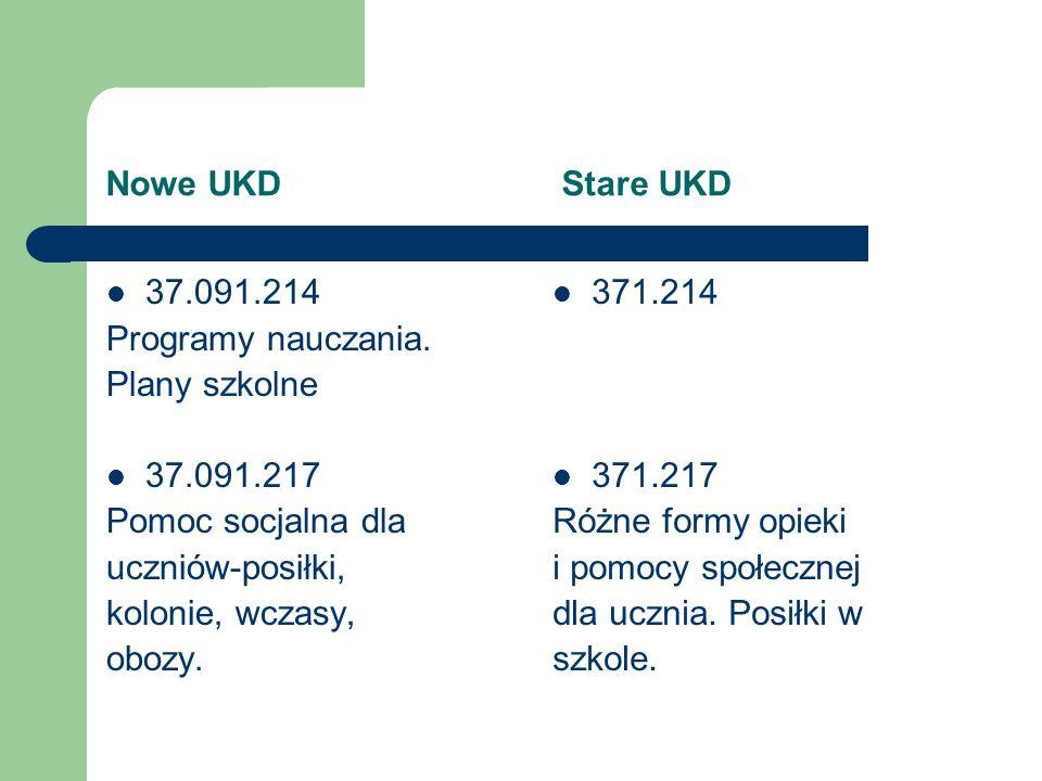 Nowe UKD Stare UKD 37.091.214 Programy nauczania. Plany szkolne 37.091.217 Pomoc socjalna dla uczniów-posiłki, kolonie, wczasy, obozy. 371.214 371.217