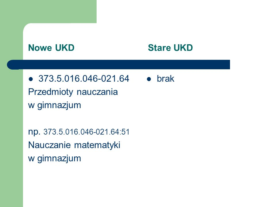 Nowe UKD Stare UKD 373.5.016.046-021.64 Przedmioty nauczania w gimnazjum np. 373.5.016.046-021.64:51 Nauczanie matematyki w gimnazjum brak