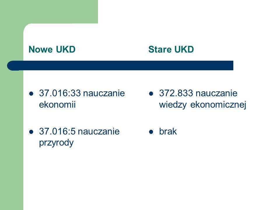 Nowe UKD Stare UKD 37.016:33 nauczanie ekonomii 37.016:5 nauczanie przyrody 372.833 nauczanie wiedzy ekonomicznej brak