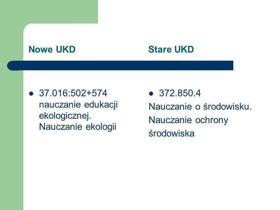Nowe UKD Stare UKD 37.016:502+574 nauczanie edukacji ekologicznej. Nauczanie ekologii 372.850.4 Nauczanie o środowisku. Nauczanie ochrony środowiska