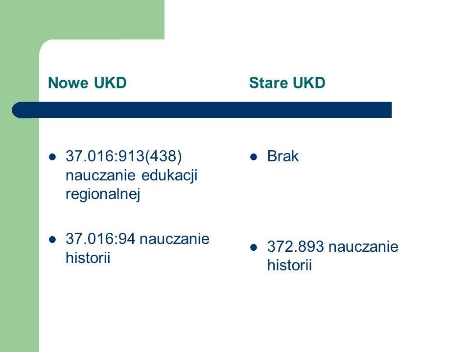 Nowe UKD Stare UKD 37.016:913(438) nauczanie edukacji regionalnej 37.016:94 nauczanie historii Brak 372.893 nauczanie historii