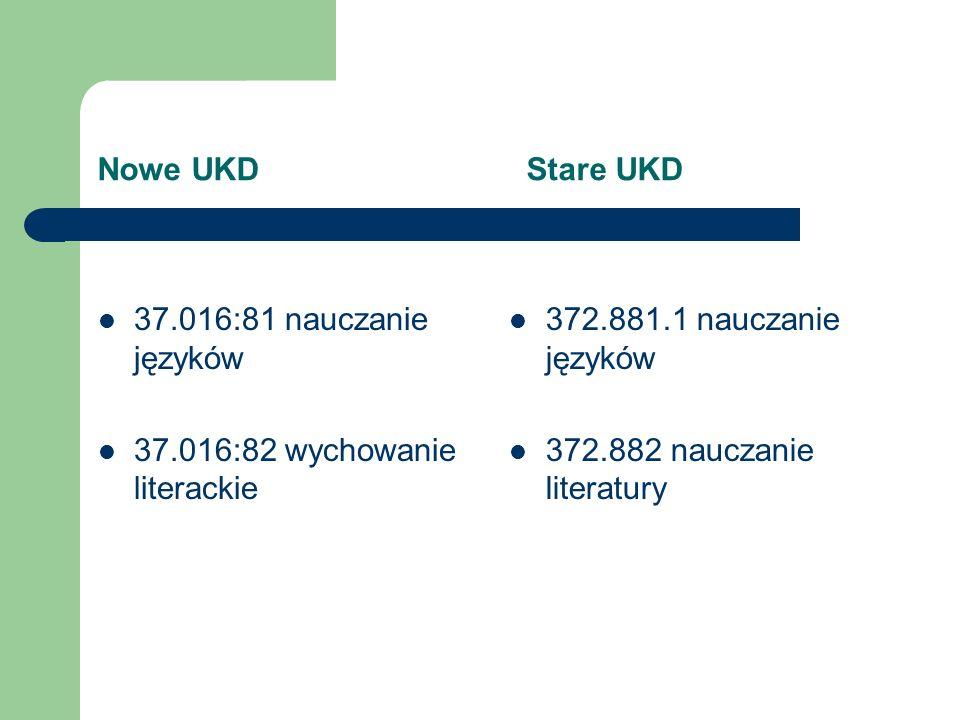 Nowe UKD Stare UKD 37.017:7+159.95 wychowanie estetyczne, rozwijanie zdolności twórczych, myślenia twórczego brak