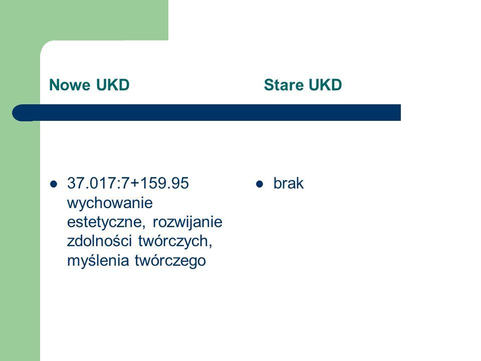 Nowe UKD Stare UKD 37.091.212 drugoroczność, niepowodzenia szkolne 37.013.82