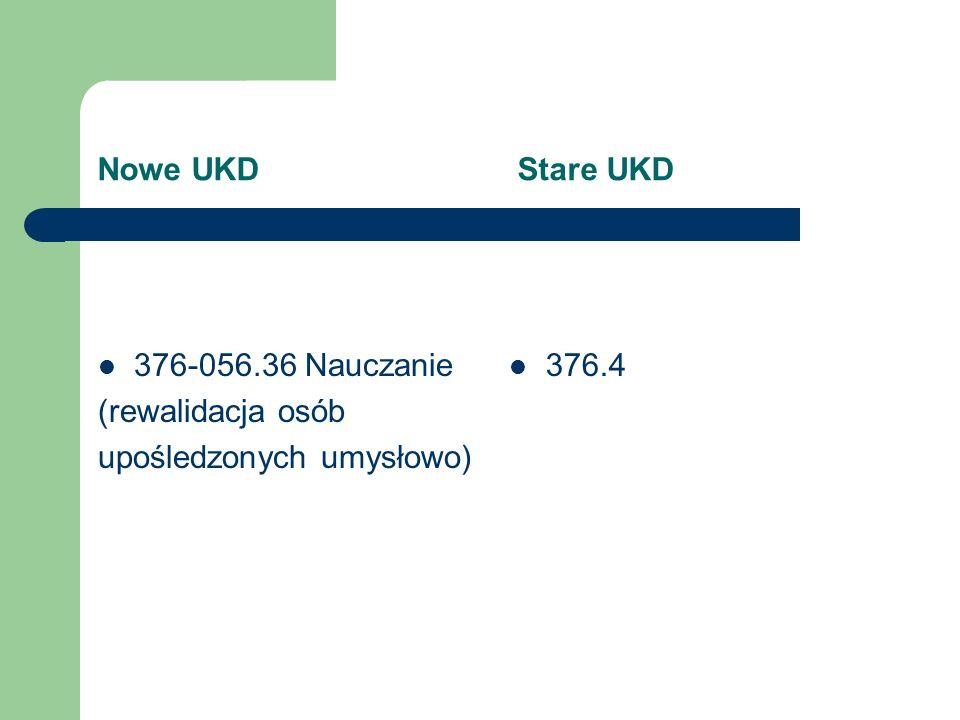 Nowe UKD Stare UKD 376-056.264 Logopedia 376-056.45 Nauczanie osób utalentowanych, geniuszy 376.36 brak
