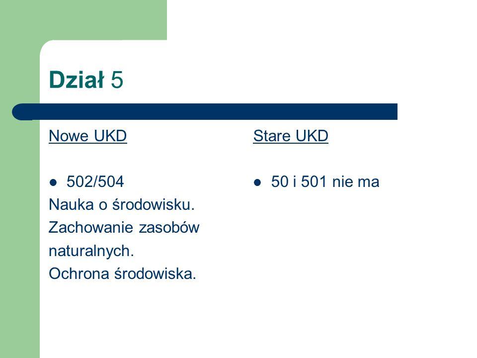 Dział 6 Nowe UKD 60 Biotechnologia 608.1 Bioetyka (nowość) 636.09 Weterynaria Stare UKD 579.6:666/664:577 Nie było 619