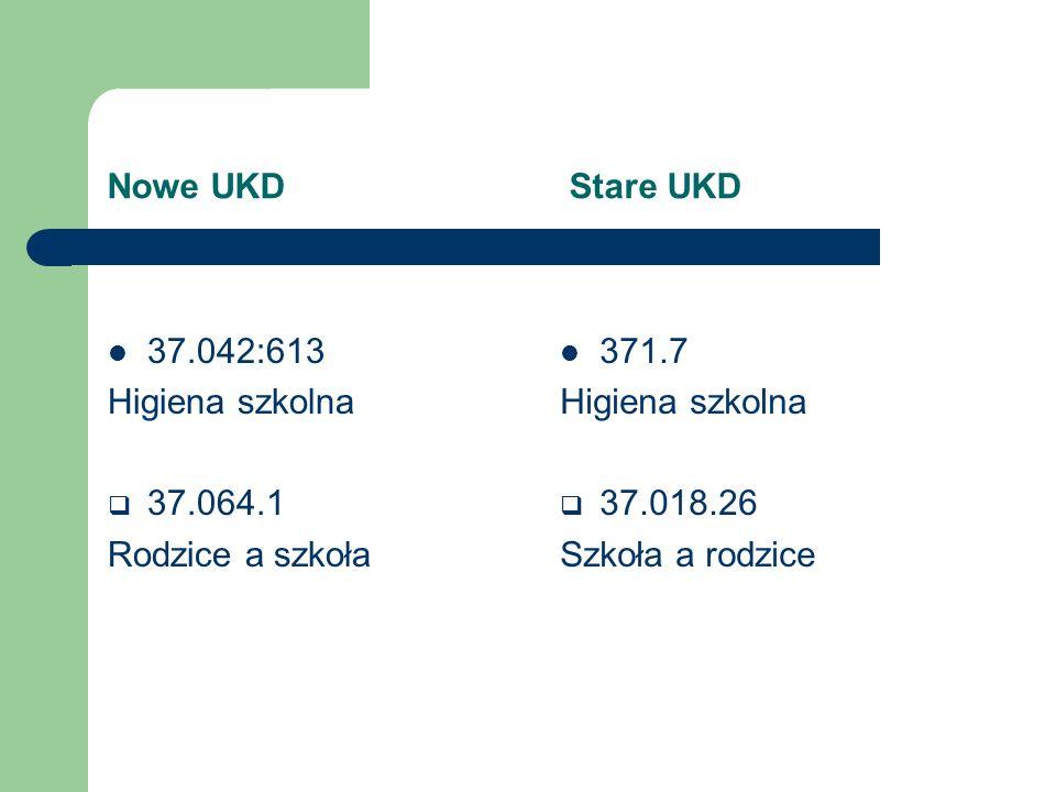 Nowe UKD Stare UKD 37.064.2 Wychowanie w szkole. Nauczyciel-uczeń 37.018.2 Wychowanie w szkole