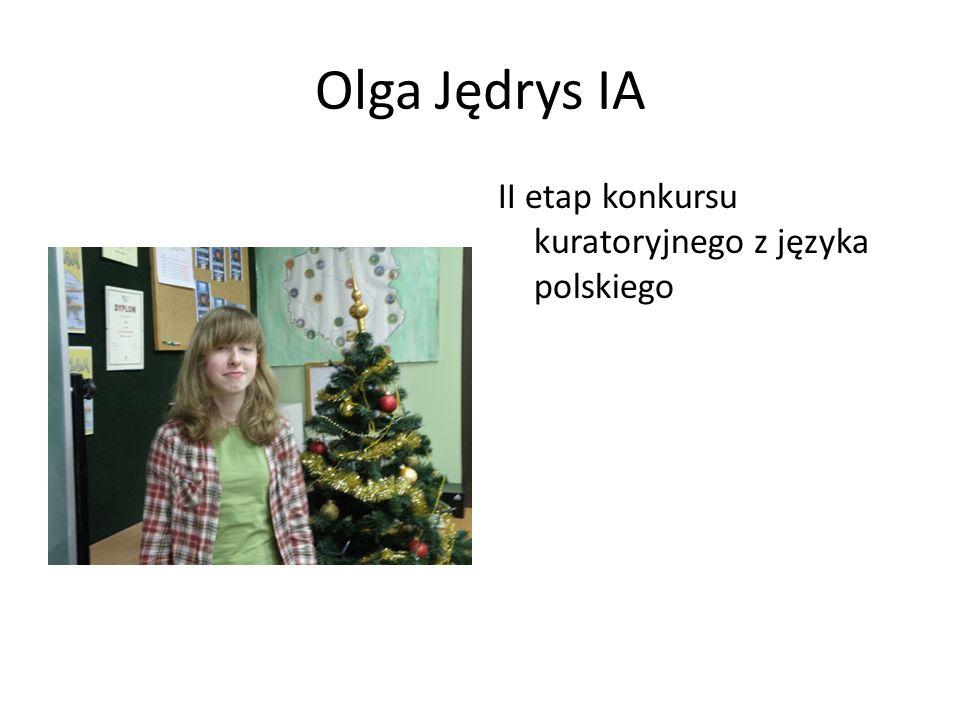 Martyna Wiśniowska IIB II etap konkursu kuratoryjnego z języka polskiego Konkurs matematyczny Alfik 2011- bardzo dobry wynik (10 miejsce w województwie)
