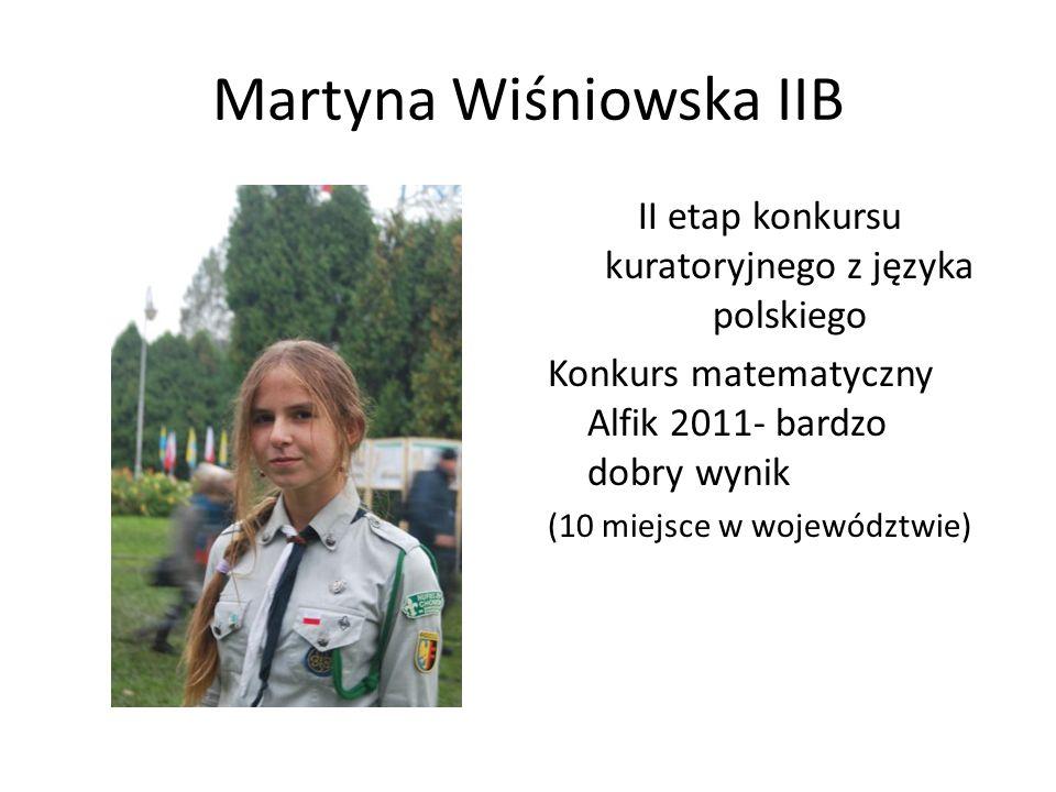 Martyna Wiśniowska IIB II etap konkursu kuratoryjnego z języka polskiego Konkurs matematyczny Alfik 2011- bardzo dobry wynik (10 miejsce w województwi
