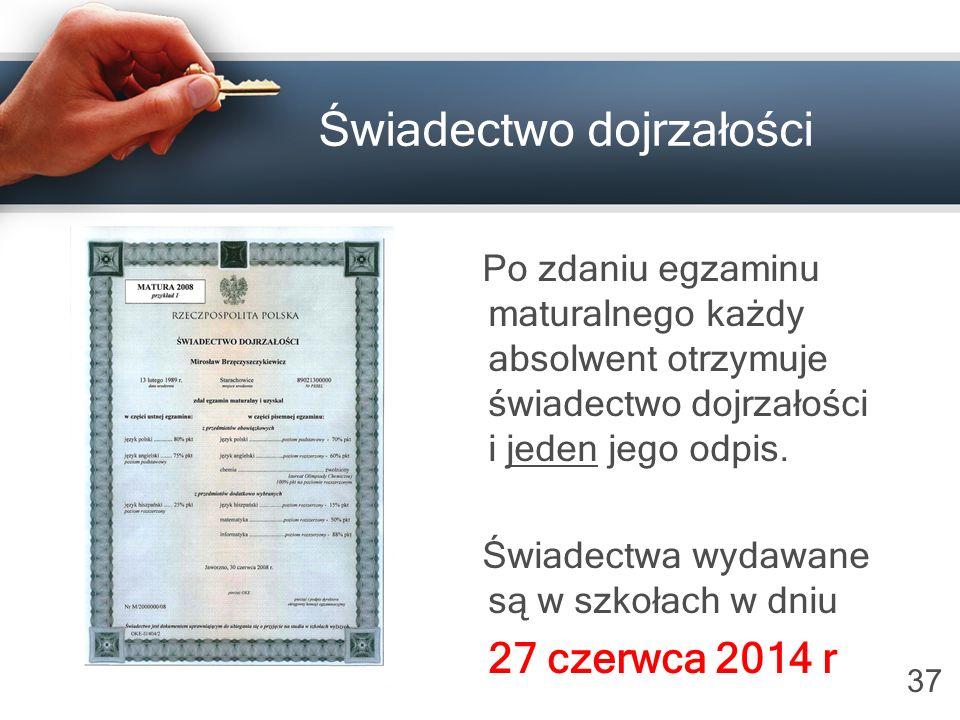 37 Świadectwo dojrzałości Po zdaniu egzaminu maturalnego każdy absolwent otrzymuje świadectwo dojrzałości i jeden jego odpis.