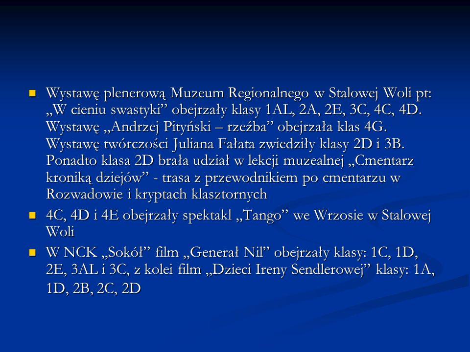Wystawę plenerową Muzeum Regionalnego w Stalowej Woli pt: W cieniu swastyki obejrzały klasy 1AL, 2A, 2E, 3C, 4C, 4D. Wystawę Andrzej Pityński – rzeźba