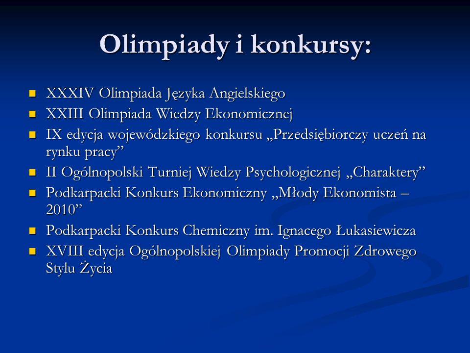 Olimpiady i konkursy: XXXIV Olimpiada Języka Angielskiego XXXIV Olimpiada Języka Angielskiego XXIII Olimpiada Wiedzy Ekonomicznej XXIII Olimpiada Wied