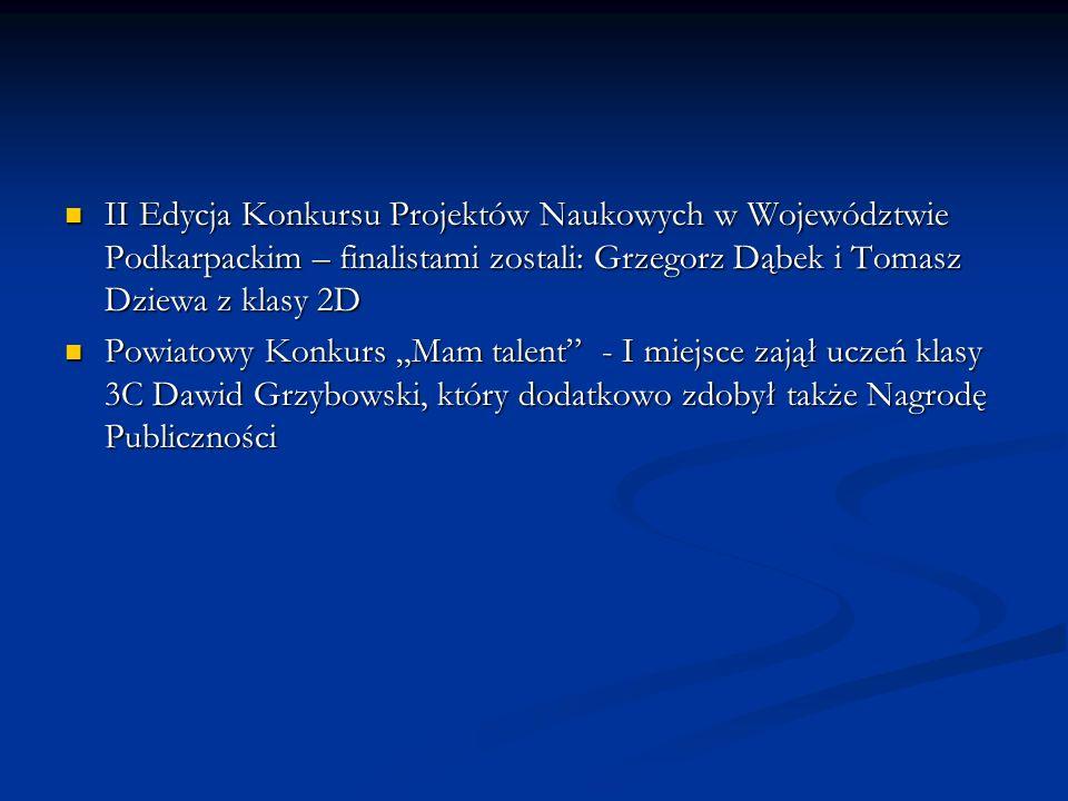 II Edycja Konkursu Projektów Naukowych w Województwie Podkarpackim – finalistami zostali: Grzegorz Dąbek i Tomasz Dziewa z klasy 2D II Edycja Konkursu
