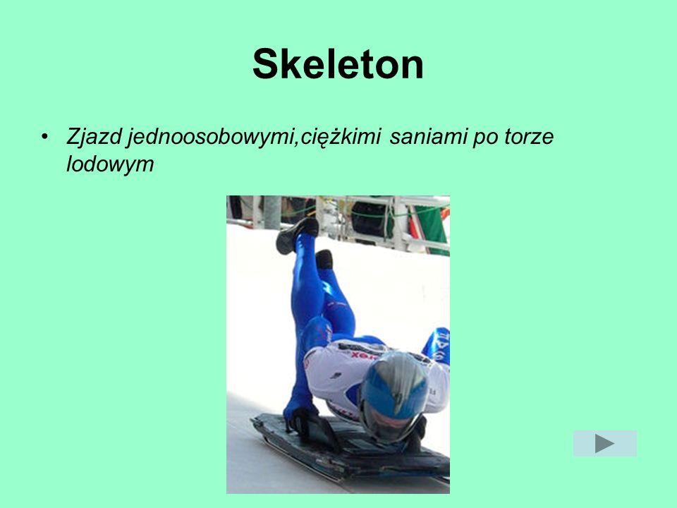 Skeleton Zjazd jednoosobowymi,ciężkimi saniami po torze lodowym