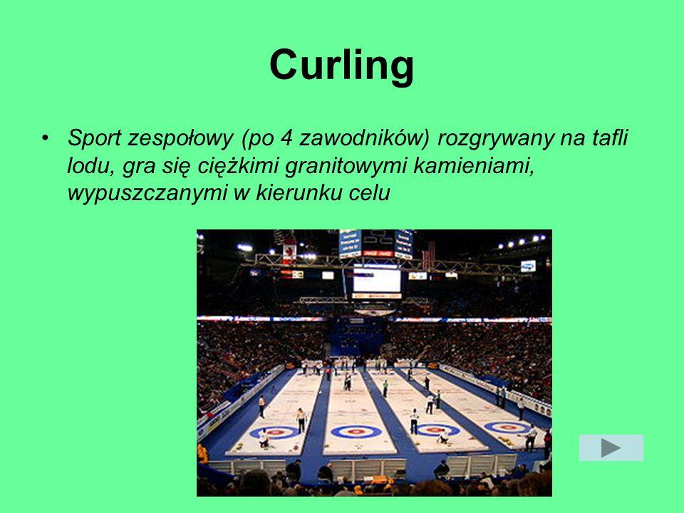 Curling Sport zespołowy (po 4 zawodników) rozgrywany na tafli lodu, gra się ciężkimi granitowymi kamieniami, wypuszczanymi w kierunku celu