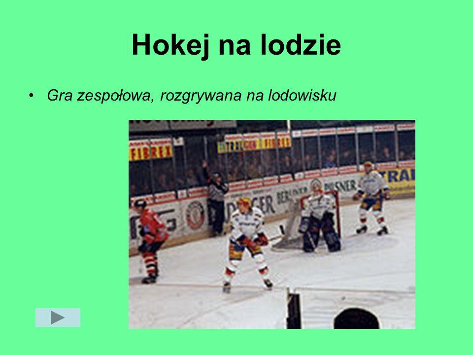 Hokej na lodzie Gra zespołowa, rozgrywana na lodowisku