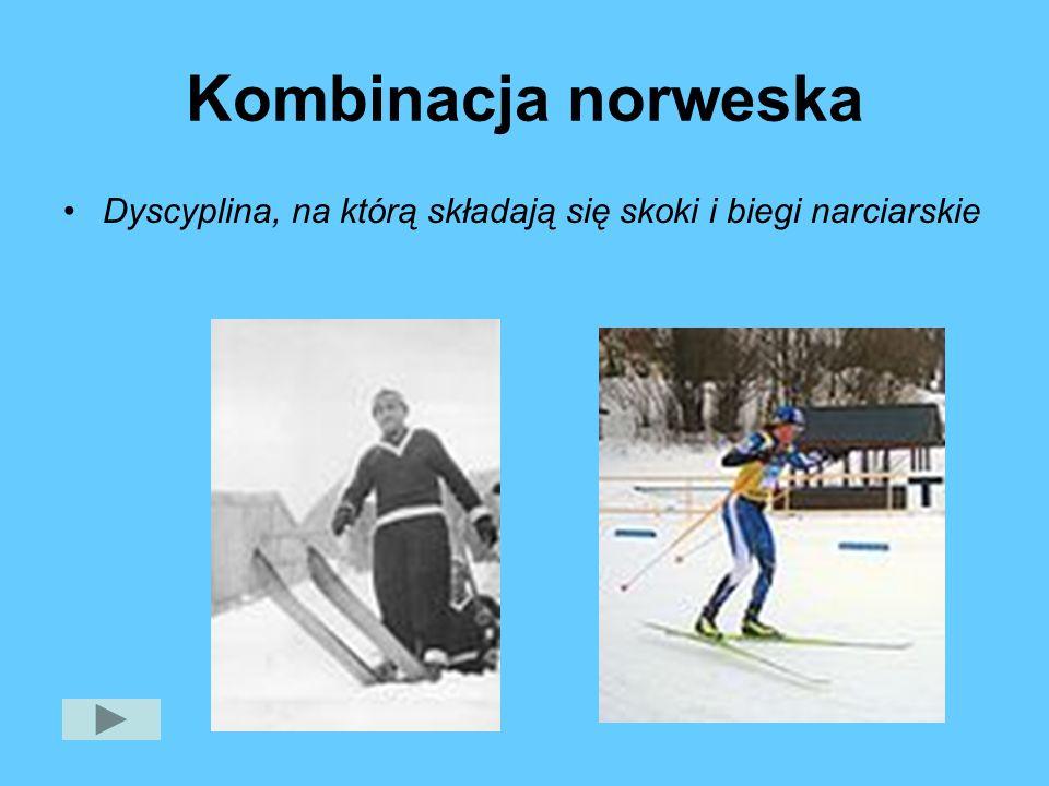 Kombinacja norweska Dyscyplina, na którą składają się skoki i biegi narciarskie
