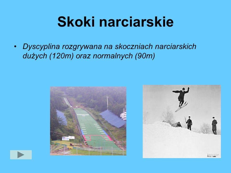 Skoki narciarskie Dyscyplina rozgrywana na skoczniach narciarskich dużych (120m) oraz normalnych (90m)