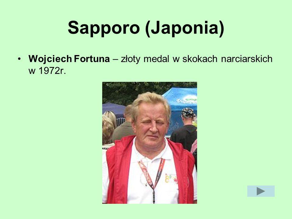 Sapporo (Japonia) Wojciech Fortuna – złoty medal w skokach narciarskich w 1972r.