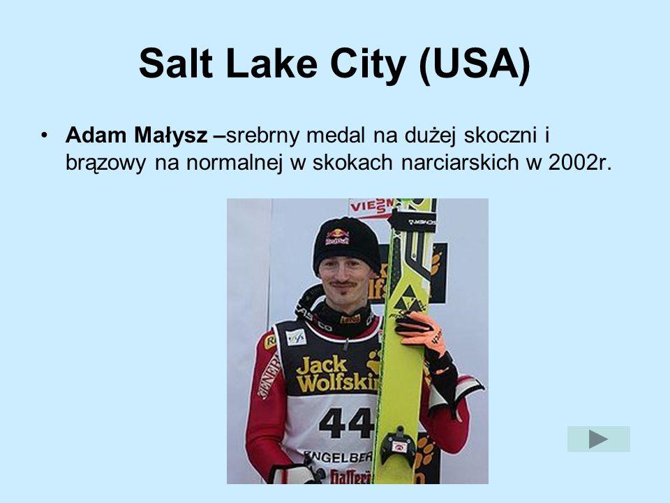Salt Lake City (USA) Adam Małysz –srebrny medal na dużej skoczni i brązowy na normalnej w skokach narciarskich w 2002r.