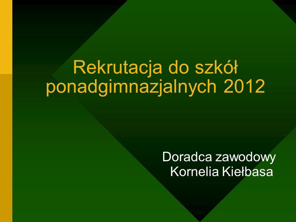 Rekrutacja do szkół ponadgimnazjalnych 2012 Doradca zawodowy Kornelia Kiełbasa