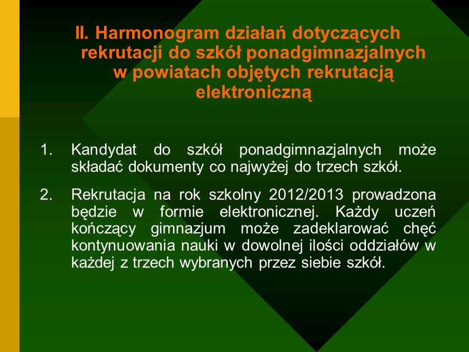 II. Harmonogram działań dotyczących rekrutacji do szkół ponadgimnazjalnych w powiatach objętych rekrutacją elektroniczną 1.Kandydat do szkół ponadgimn