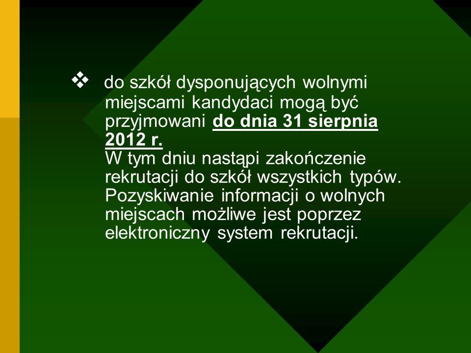 do szkół dysponujących wolnymi miejscami kandydaci mogą być przyjmowani do dnia 31 sierpnia 2012 r. W tym dniu nastąpi zakończenie rekrutacji do szkół