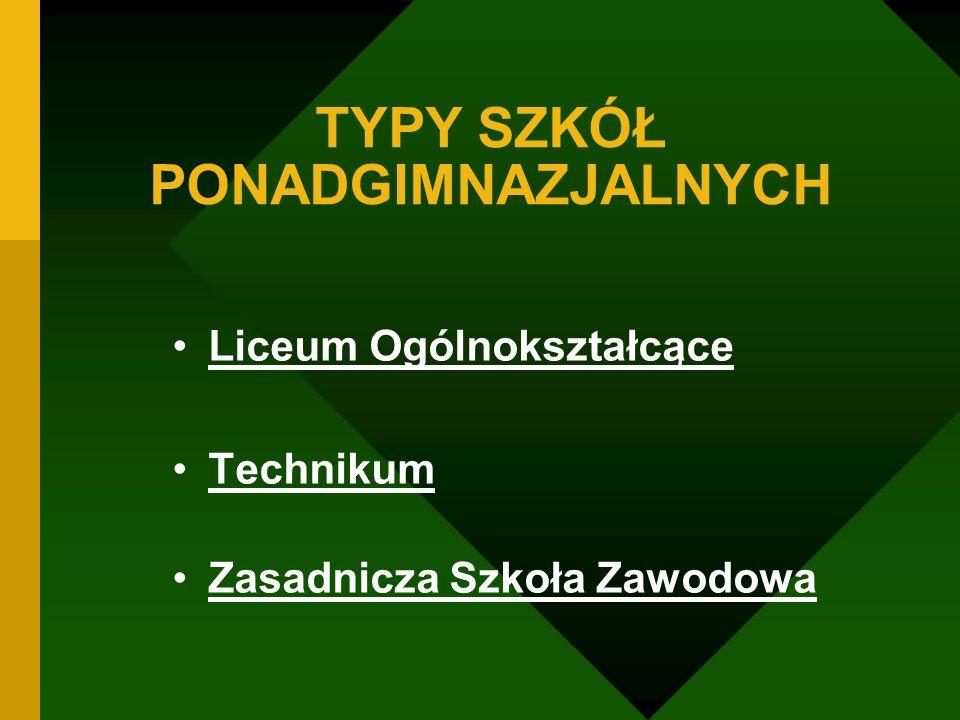 TYPY SZKÓŁ PONADGIMNAZJALNYCH Liceum Ogólnokształcące Technikum Zasadnicza Szkoła Zawodowa