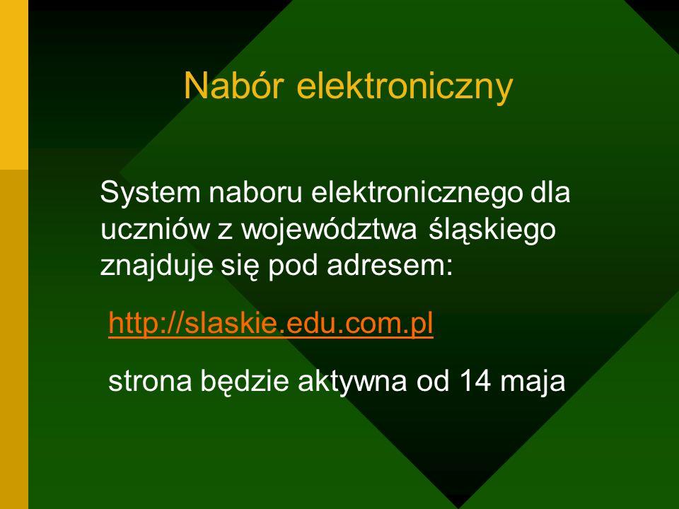 Nabór elektroniczny System naboru elektronicznego dla uczniów z województwa śląskiego znajduje się pod adresem: http://slaskie.edu.com.pl strona będzi
