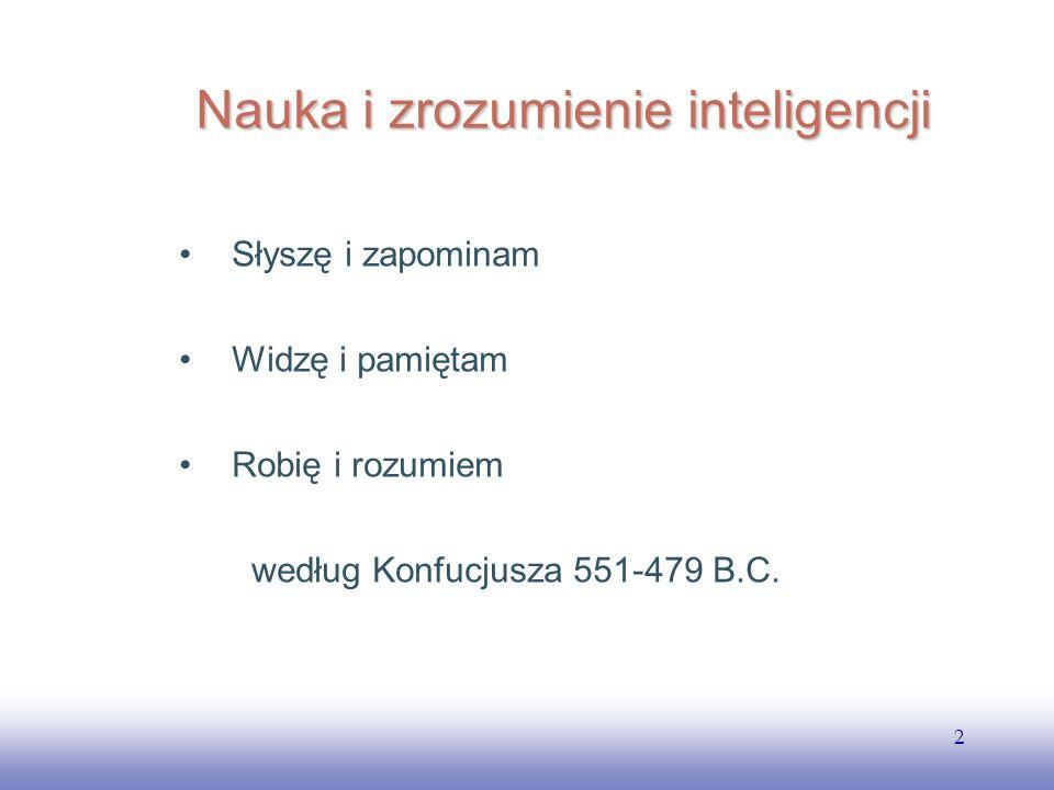 EE141 2 Nauka i zrozumienie inteligencji Słyszę i zapominam Widzę i pamiętam Robię i rozumiem według Konfucjusza 551-479 B.C.
