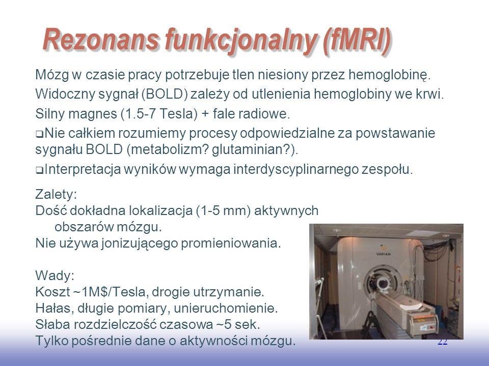 EE141 22 Rezonans funkcjonalny (fMRI) Mózg w czasie pracy potrzebuje tlen niesiony przez hemoglobinę.