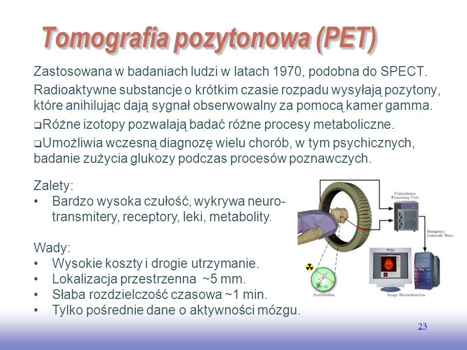 EE141 23 Tomografia pozytonowa (PET) Zastosowana w badaniach ludzi w latach 1970, podobna do SPECT.