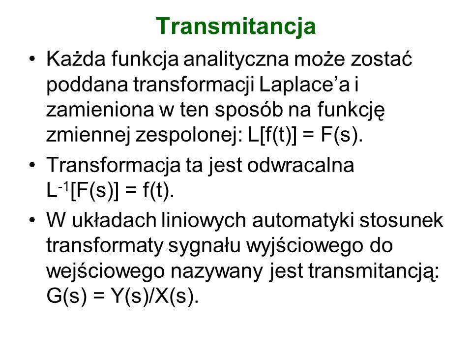 Transmitancja Każda funkcja analityczna może zostać poddana transformacji Laplacea i zamieniona w ten sposób na funkcję zmiennej zespolonej: L[f(t)] =