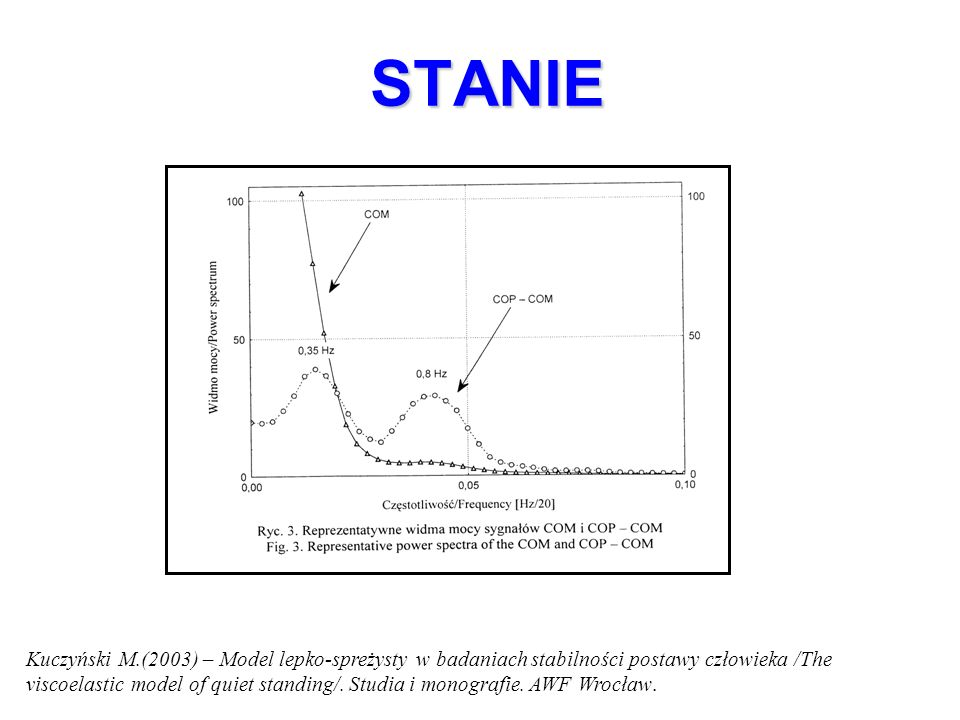 STANIE Kuczyński M.(2003) – Model lepko-spreżysty w badaniach stabilności postawy człowieka /The viscoelastic model of quiet standing/. Studia i monog