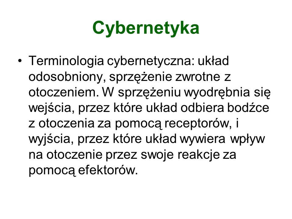 Cybernetyka Terminologia cybernetyczna: układ odosobniony, sprzężenie zwrotne z otoczeniem. W sprzężeniu wyodrębnia się wejścia, przez które układ odb