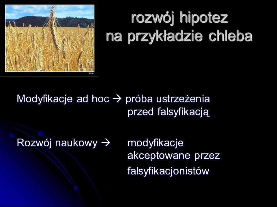 rozwój hipotez na przykładzie chleba Modyfikacje ad hoc próba ustrzeżenia przed falsyfikacją Rozwój naukowy modyfikacje akceptowane przez falsyfikacjo