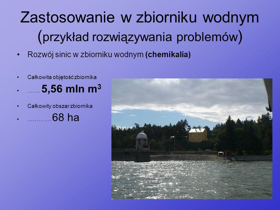 Zastosowanie w zbiorniku wodnym ( przykład rozwiązywania problemów ) Rozwój sinic w zbiorniku wodnym (chemikalia) Całkowita objętość zbiornika ……. 5,5