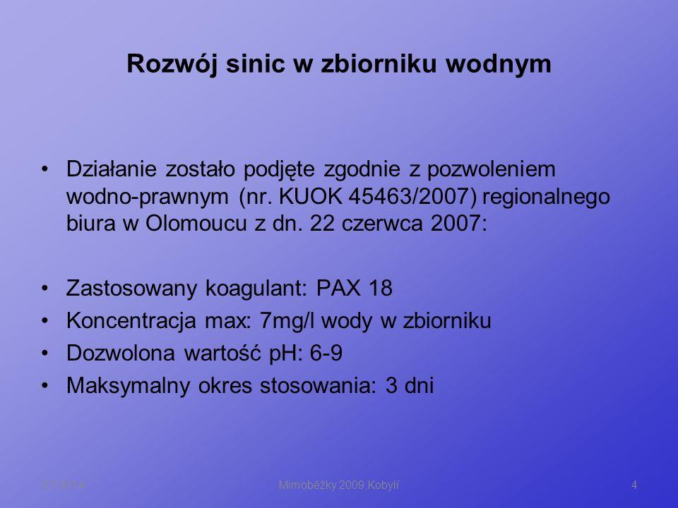 Rozwój sinic w zbiorniku wodnym 8.3.20144Mimoběžky 2009,Kobylí Działanie zostało podjęte zgodnie z pozwoleniem wodno-prawnym (nr. KUOK 45463/2007) reg