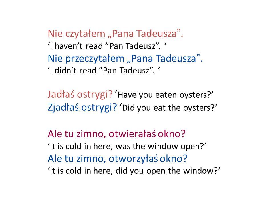 Nie czytałem Pana Tadeusza. I havent read Pan Tadeusz. Nie przeczytałem Pana Tadeusza. I didnt read Pan Tadeusz. Jadłaś ostrygi? Have you eaten oyster