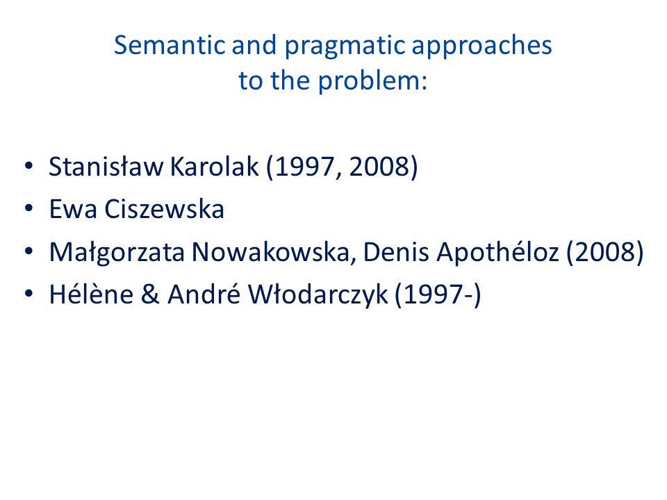 Semantic and pragmatic approaches to the problem: Stanisław Karolak (1997, 2008) Ewa Ciszewska Małgorzata Nowakowska, Denis Apothéloz (2008) Hélène &