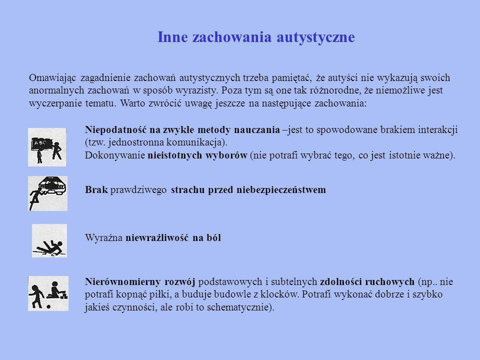 Niektóre z objawów zaburzeń integracji sensorycznej autystów