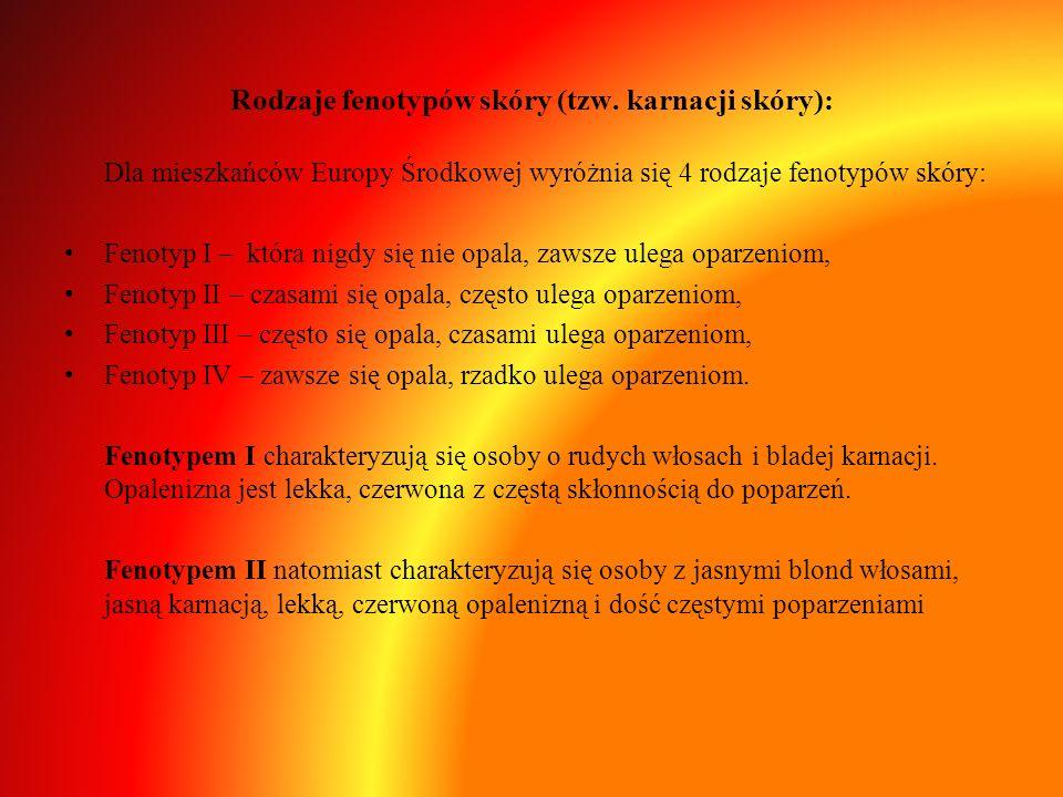 Rodzaje fenotypów skóry (tzw. karnacji skóry): Dla mieszkańców Europy Środkowej wyróżnia się 4 rodzaje fenotypów skóry: Fenotyp I – która nigdy się ni