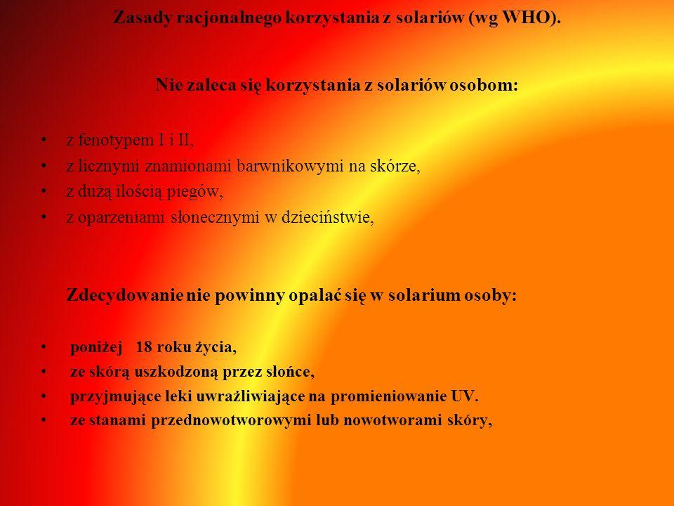 Zasady racjonalnego korzystania z solariów (wg WHO). Nie zaleca się korzystania z solariów osobom: z fenotypem I i II, z licznymi znamionami barwnikow