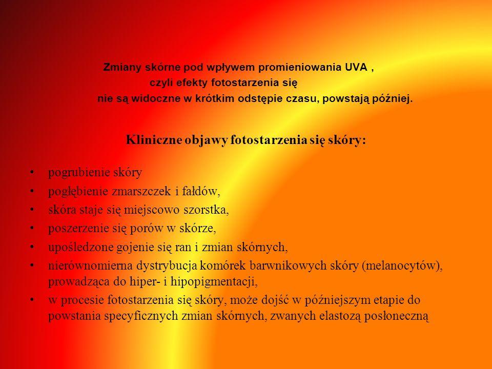 Kliniczne objawy fotostarzenia się skóry: Zmiany skórne pod wpływem promieniowania UVA, czyli efekty fotostarzenia się nie są widoczne w krótkim odstę