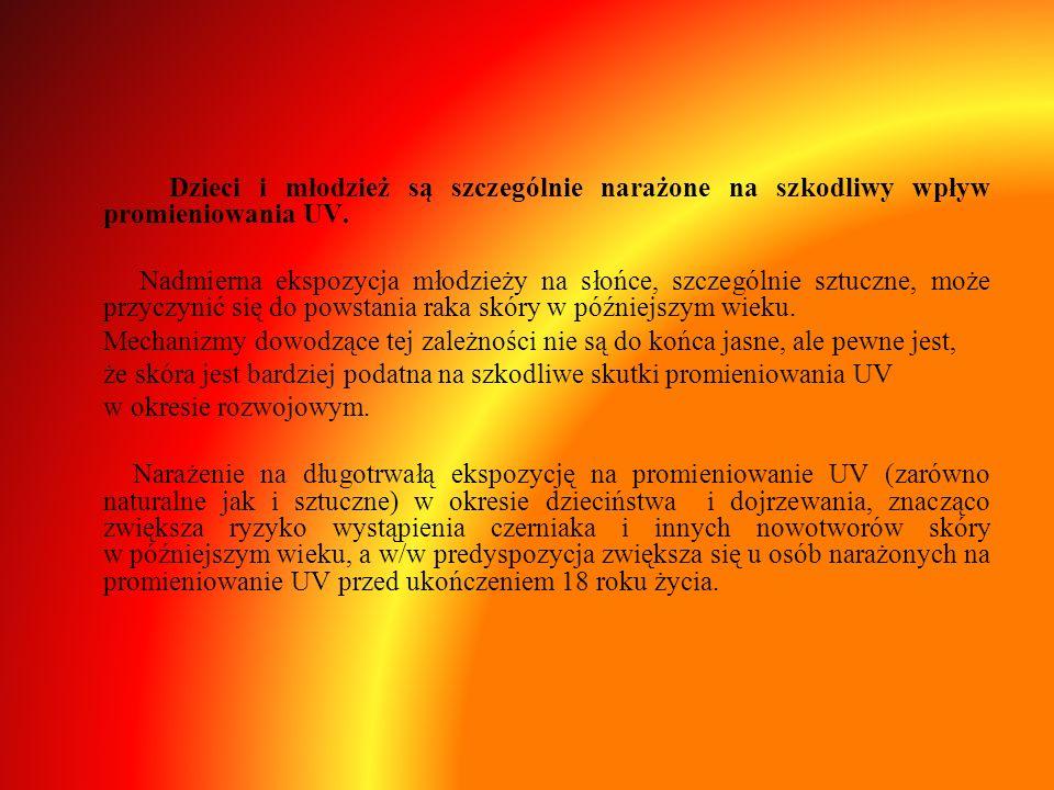 Dzieci i młodzież są szczególnie narażone na szkodliwy wpływ promieniowania UV. Nadmierna ekspozycja młodzieży na słońce, szczególnie sztuczne, może p
