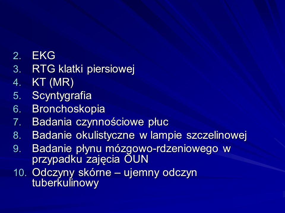 2. EKG 3. RTG klatki piersiowej 4. KT (MR) 5. Scyntygrafia 6. Bronchoskopia 7. Badania czynnościowe płuc 8. Badanie okulistyczne w lampie szczelinowej